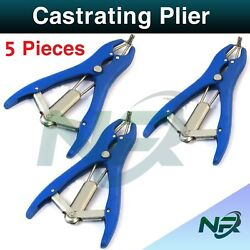 Nrsurgical 5 Pieces Elastrator Castrating Plier Rubber Ring Applicator