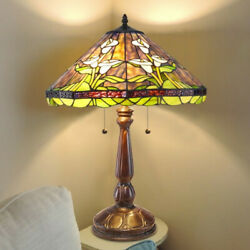 Style Stained Glass Lilly Table Lamp Dark Bronze Finish 25in Tall