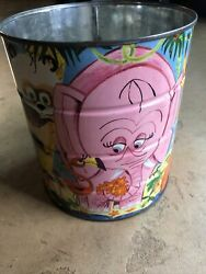 """Great Vintage Folgers Colorful Jungle Zoo Animals Tin Coffee Can Rare 6""""w, 7""""h"""