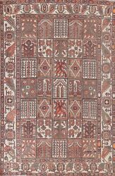 Antique Bakhtiari Garden Design Tribal Area Rug Hand-knotted Living Room 7and039x10and039