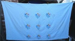 Vintage Chenille Cotton Bedspread 90 X 104 Full Or Double Size Bouquets Cutter