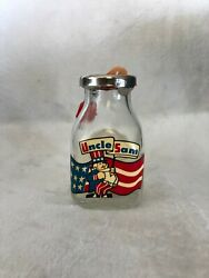 Vintage Uncle Sam Half Pint Milk Bottle Coin Bank With Lock And Key