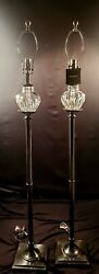 Matching Pair Of Waterford Carina Fine Cut Crystal Floor Lamps - Flawless
