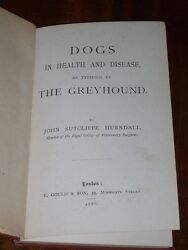 Very Rare Dog Book Dogs In Health And Disease As Typified By The Greyhound 1886