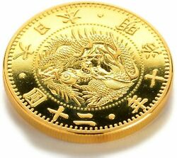 Modern Money Meiji Year Old 20 Round Gold Coins Plating Proof Finish