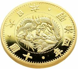 Modern Money Meiji Year Old 10 Round Gold Coins Plating Proof Finish