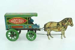Vintage J. Chein Groceries Mechanical Horse-drawn Delivery Cart Pull Tin Toy