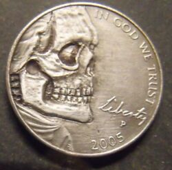 Hand Carved Hobo nickel skull unsigned free mail $42.50