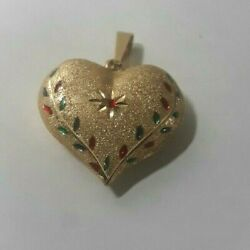 14k Yellow Gold Large Heart Pendent With Gemstones Nice