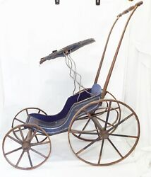 Old Antique Blue Wooden Doll Buggy Toy W/ Canopy And Spoke Wagon Wheels