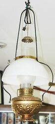 Old Antique B And H Ornate Brass Country Store Hanging Lamp Electrified Oil Lamp