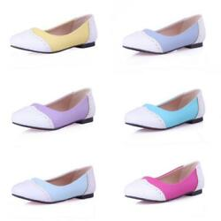 Ladies Brogue Casual Patchwork Women Loafers Office Pumps School Shoes 44-54 D