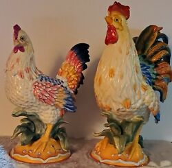 Vintage Fitz And Floyd Ricamo Rooster 13 Hen 11 Pair Figurines Country Decor