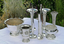 Collection Of 9x Silver Plated Vases Posy Bowls - Silver Plated - Vintage