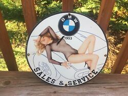 Bmw Sales And Service Porcelain Sign Gas And Oil Sign Gas Station Sign Bmw Sign