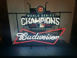 2016 Budweiser Beer Chicago Cubs World Series Champs Neon Light Up Sign Rare