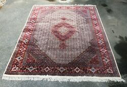 Very Fine Estate Hand Knotted Oriental Rug 9 X 12 Silk And Wool