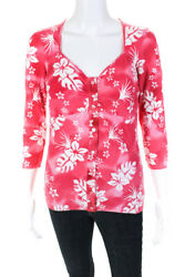Bluemarine Womens Long Sleeve Floral Knit Square Neck Blouse Pink Size Small