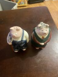 Vintage Farmer Salt And Pepper Shakers - Pigs Pig - American Gothic Portrait