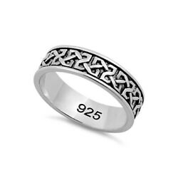 925 Sterling Silver Celtic Band Ring Us-11