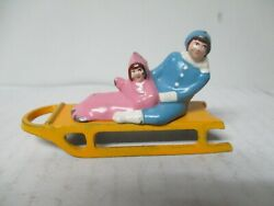 Vintage Barclay Cast Metal Christmas Garden Scene Lady In Blue W Girl On Sled