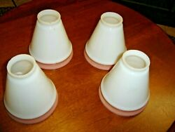 Set Of 4 Shades White With Peach Edge With 2 1/4 Fitter 796