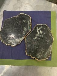 Anna Rablabs Coaster Slabs Marble And Gold Set Of 2