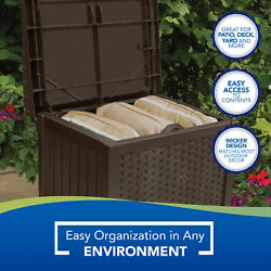 Suncast 22 Gallon Outdoor Resin Wicker Deck Storage Box With Seat Java Brown
