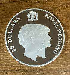 1981 Silver Jamaica Proof 25 Wedding Of Charles And Lady Diana.