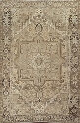 Vintage Muted Geometric Heriz Area Rug Hand-knotted Oriental Dining Room 9and039x12and039