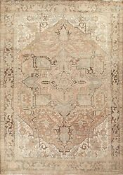 Antique Muted Heriz Geometric Traditional Area Rug Wool Oriental Handmade 9and039x11and039