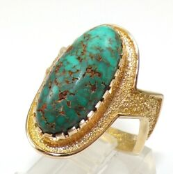 Al Nez Native American Blue Green Turquoise 14k Yellow Gold Ring Size 8 Ljf3