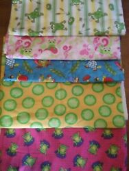 Cotton Fabric Prints Green Frog BTY Quilting Crafts 5 Patterns U Choose