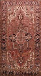 Antique Geometric Vegetable Dye Heriz Serapi Hand-knotted Area Rug Wool 8and039x12and039