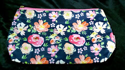 RARE MARY SQUARE LARGE DESIGNER COSMETIC BAG PINK FLORAL PATTERN ZIPPER CLUTCH $10.98