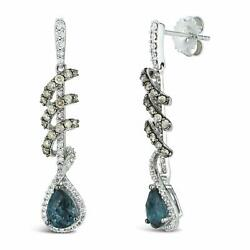 Levian White Gold Pear Blue Topaz White And Chocolate Diamond Fine Stud Earrings