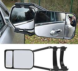 2 Adjustable Clip On Towing Mirror For Trailer Safe Hauling Extension Universal