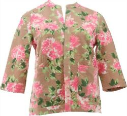 Isaac Mizrahi Floral Print Diamond Quilted Knit Jacket Cappuccino 2x New A379430