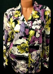 Cj Banks Purple Black Green Floral Abstract Plus Size Buttoned Down Jacket 3x