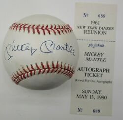 Mickey Mantle Signed / Autographed Baseball Show Ticket Coa Yankees N-m-mint 2