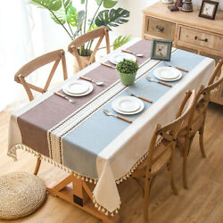 Waterproof Jacquard Imitation Cotton Linen Embroidered Tassel Lace Tablecloths