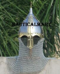 Medieval Reproduction Viking-war Battle Solid Spartan Helmet W/chain Mail