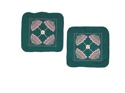 True Vintage Pillowcases Green Pink Parasol Embroidered Covers Custom Hand Made