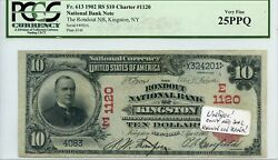 Fr. 613 1902 Rs 10 Ch1120 National Bank Note Kingston New York Pcgs 25 Ppq Vf