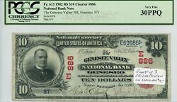 Fr. 613 1902 Rs 10 Ch 886 National Bank Note Geneseo New York Pcgs 30 Ppq Vf