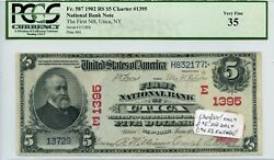 Fr. 587 1902 Rs 5 Ch 1395 National Bank Note Utica New York Pcgs 35 Vf