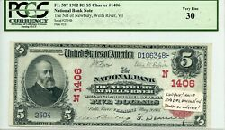 Fr. 587 1902 Rs 5 Ch 1406 National Bank Note Wells River Vermont Pcgs 30 Vf