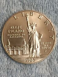 One 1986-p Statue Of Liberty Silver Dollar Coin