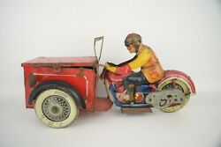 Jml Delivery Motorcycle Tin Toy Wind Up Scarce 1930s Pre-war Triporteur