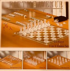 Chess And Checkers Set Glass Board And Pieces